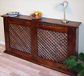 Rustic Pine with lattice grille and mahogany stain